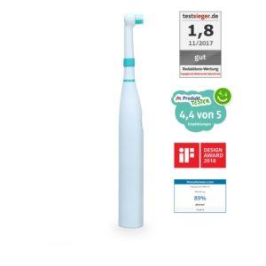 happybrush elektrische rotierende Zahnbürste auf weissem Hintergrund