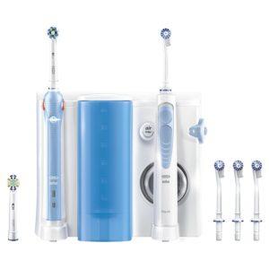 Oral-B Mundpflege Center - OxyJet Munddusche + Oral-B Pro 1000 Elektrische Zahnbürste auf weissem Grund